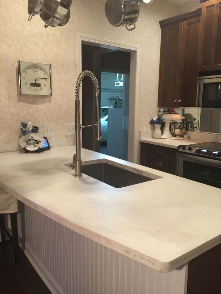 Light Tan Concrete Countertop Kitchen