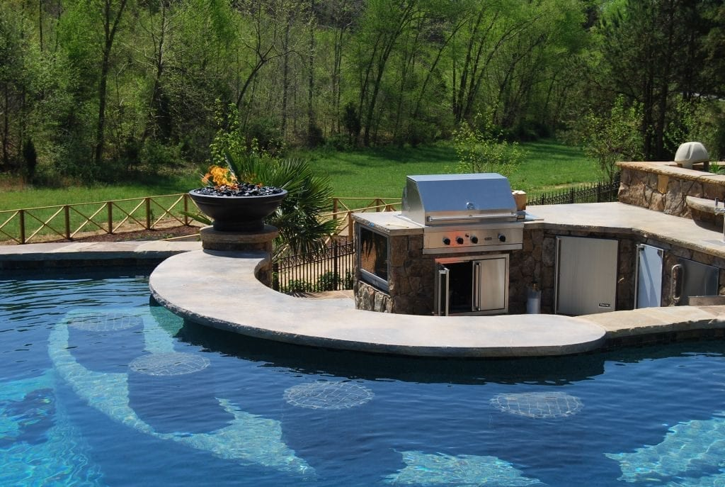 Outdoor Kitchen Concrete Countertop Around Pool