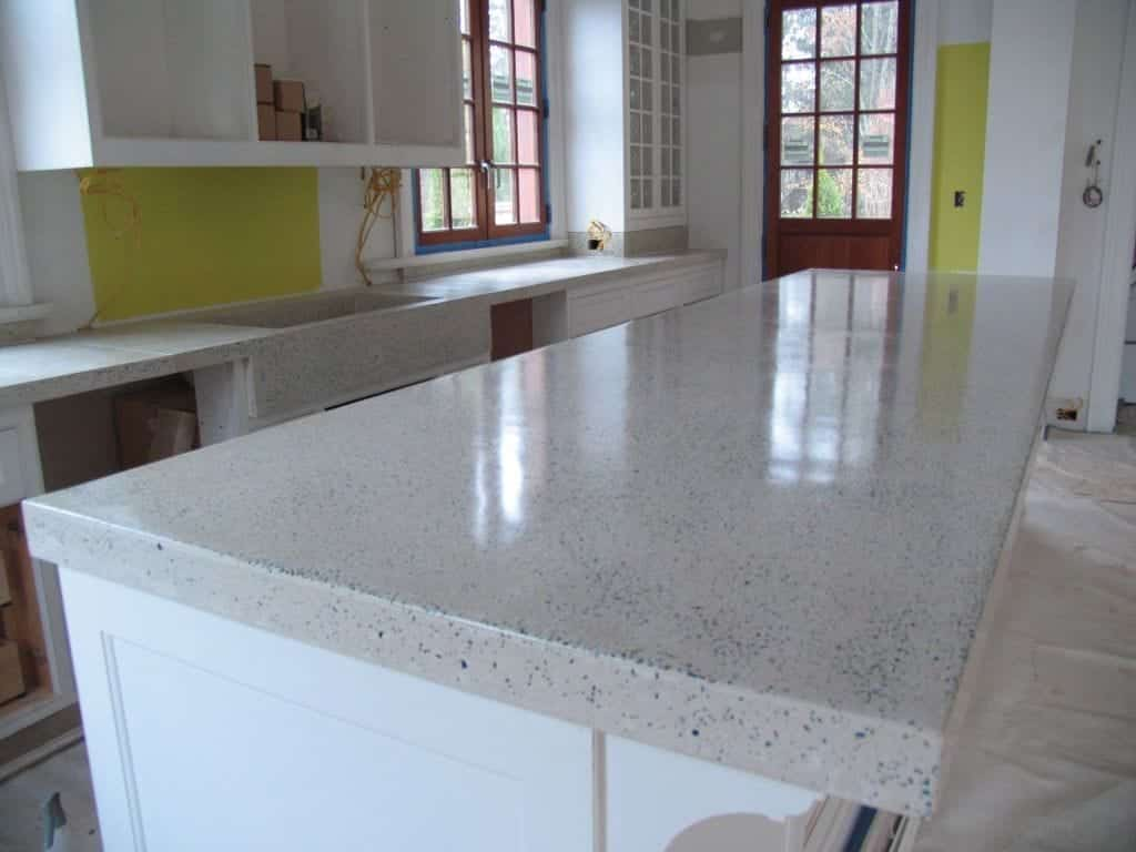 Concrete Terrazzo Concrete Countertop White with Glass