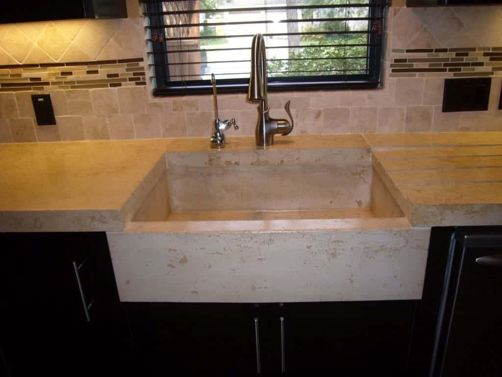 Integrated Sink Tan Concrete Countertop