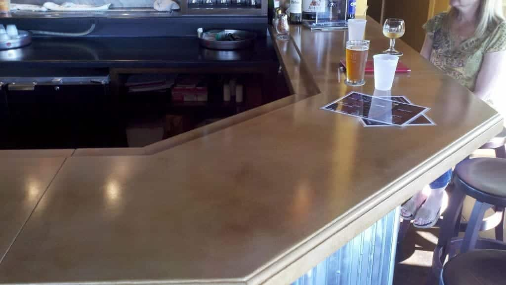 Large Light Brown Concrete Bar Top with Designer Edge Profile
