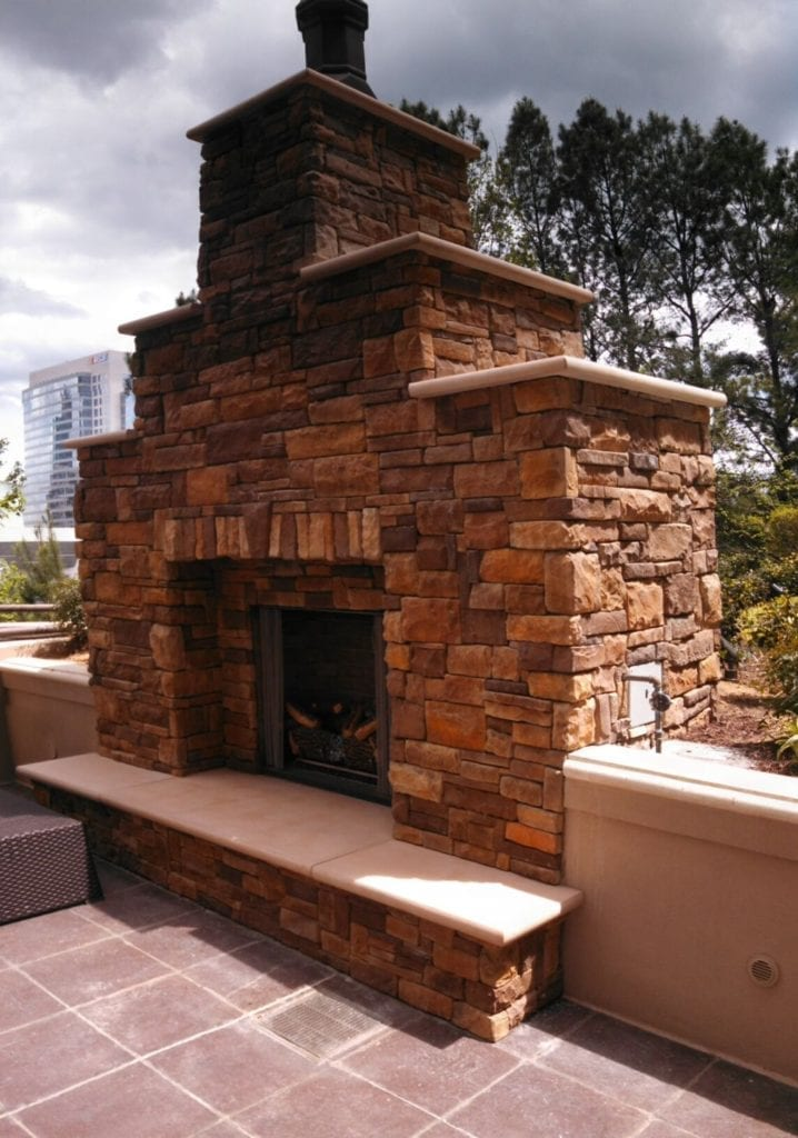 Outdoor Fireplace Cast Concrete Mantel