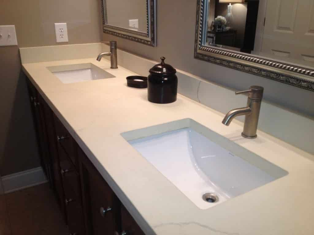 White Concrete Bathroom Vanity with Double Sinks