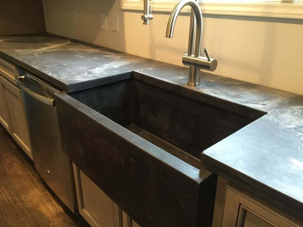 Dark Gray Marble Looking Concrete Countertop with Sink