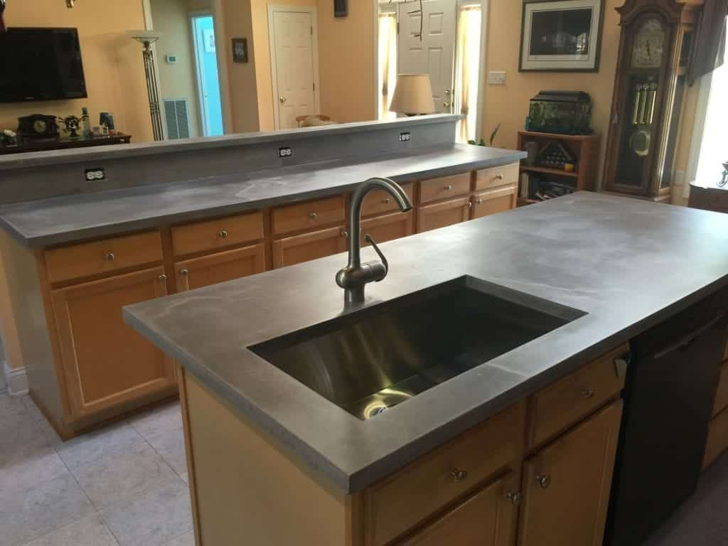 Smooth Gray Concrete Countertop