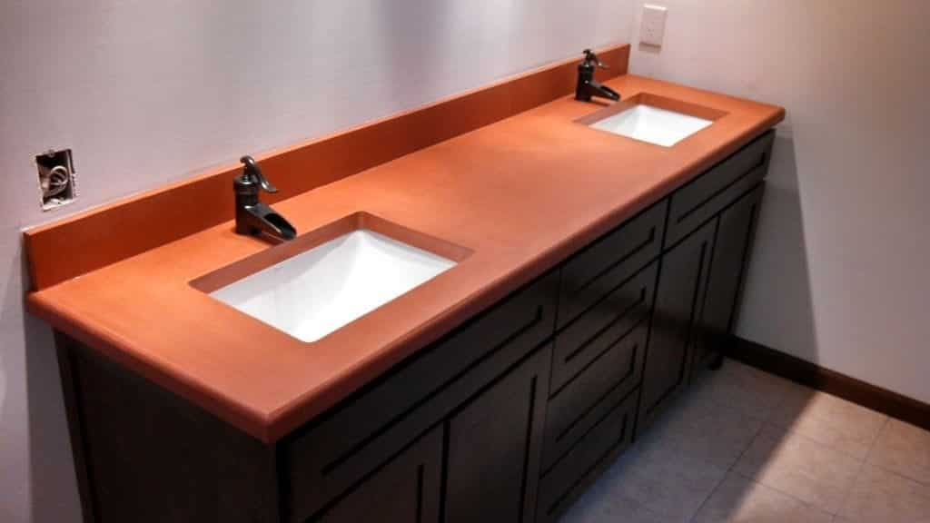 Orange Concrete Bathroom Countertop