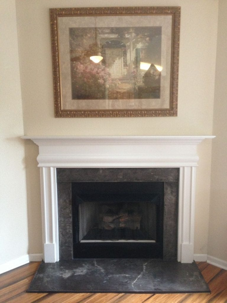 Gray Cast Concrete Fireplace Surround
