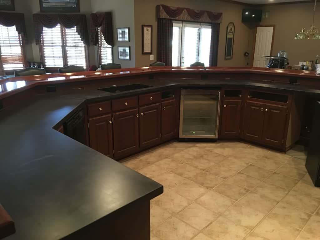Very Large Gray Kitchen Concrete Countertop