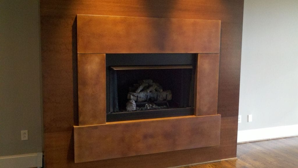 Walnut Concrete Fireplace Surround