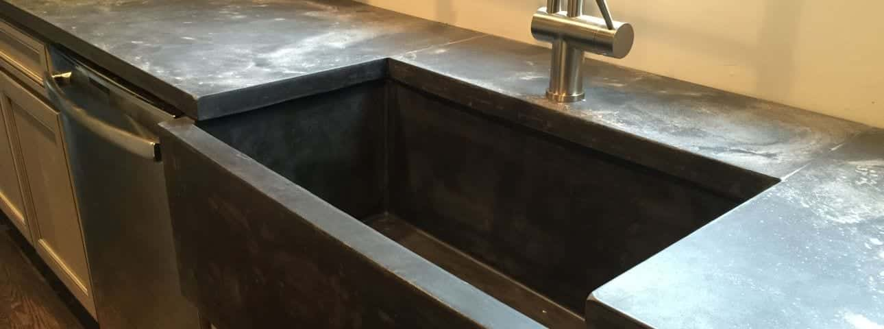 Project photos of cast concrete material and concrete countertops