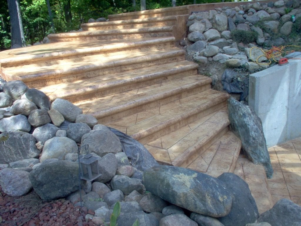 Stairs and Sidewalk Stamped Concrete Overlay Photo