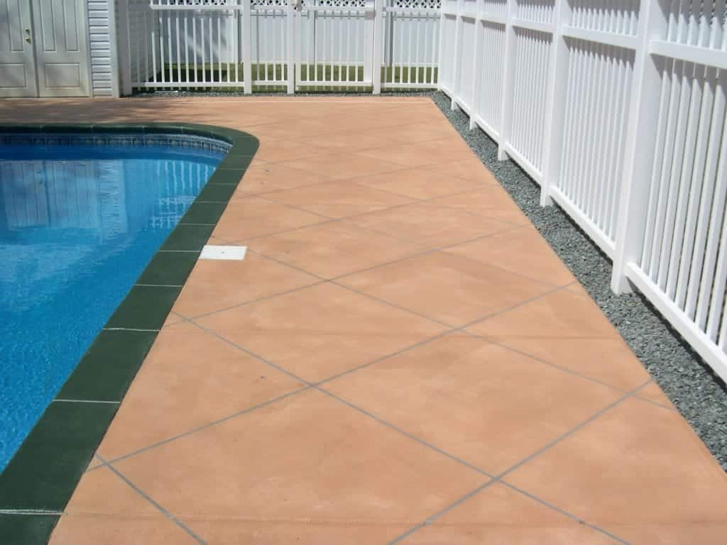 Tile Looking Pool Deck Concrete Overlay Photo