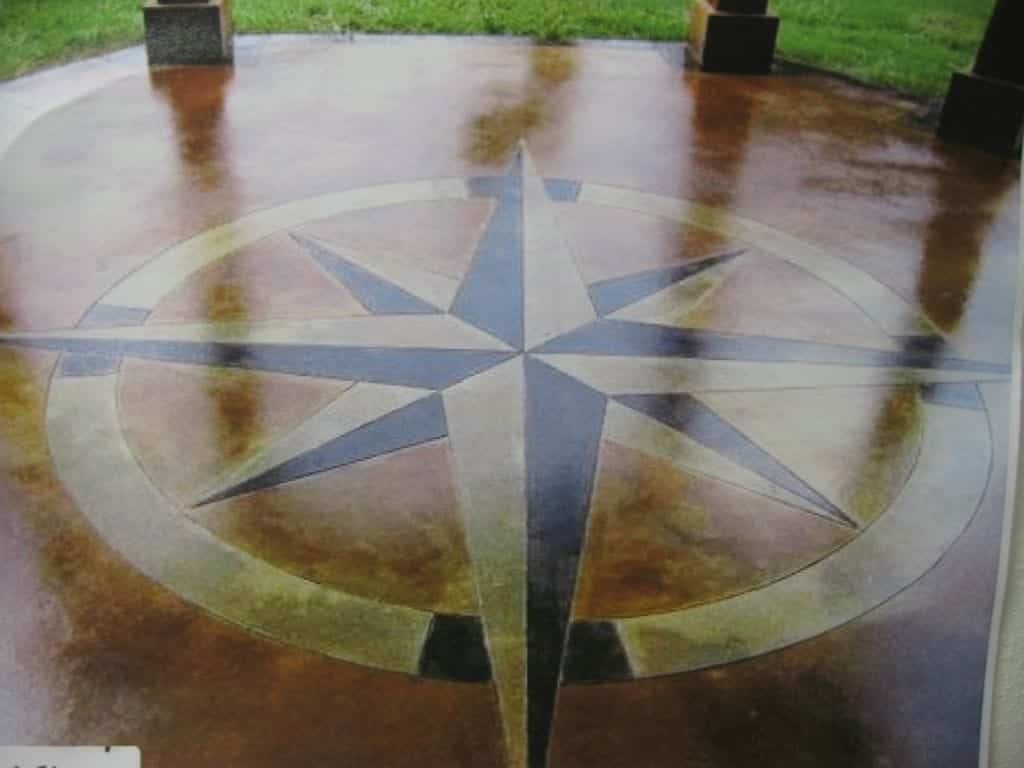 Concrete Driveway Circle Stained Many Different Brown Colors