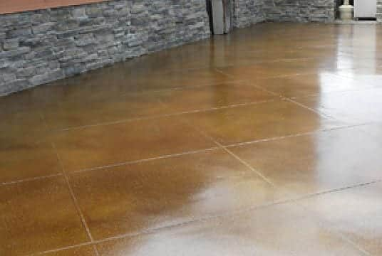 High Gloss Brown Stained Concrete Floor