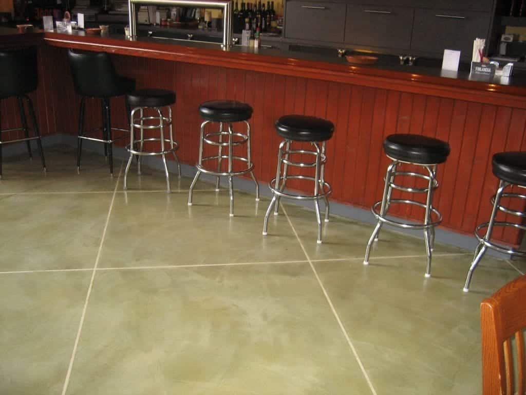 Restaurant Bar Light Tan Concrete Stained Floor