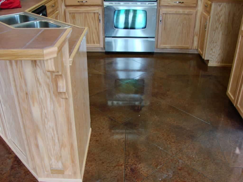 Brown Concrete Stained Kitchen Floor