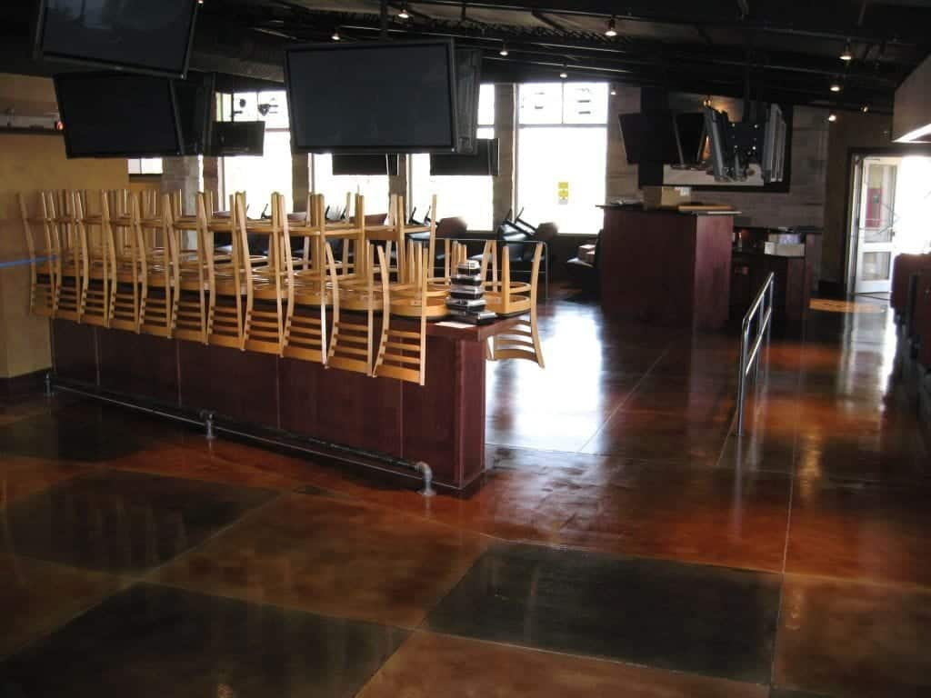 Dark Brown Restaurant Bar Concrete Floor