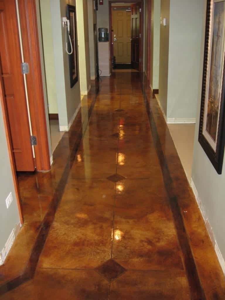 Brown Concrete Hallway Floor