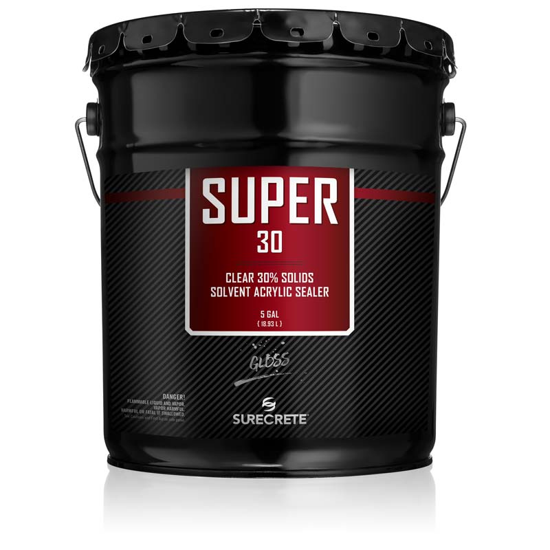 SureCrete Super 30 Clear Acrylic Concrete Sealer for Outdoor Concrete. High gloss penetrating clear concrete sealer. High shine glossy stamped concrete sealer that penetrates deep into concrete.