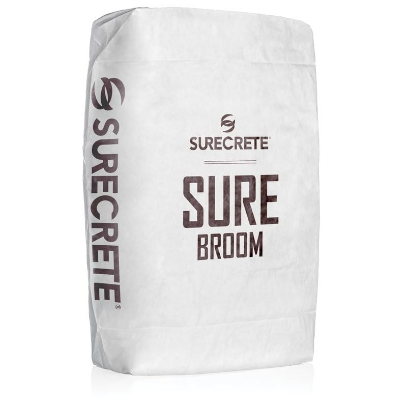 SureBroom Traffic Concrete Overlay Bag Mix. SureBroom is the strongest concrete texture overlay repair material system available. Concrete texture repair bag mix that is stronger than Ardex CD. Heavy traffic concrete repair material system.
