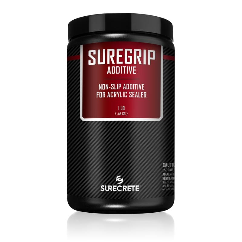 SureCrete Design Products SureGrip Traction Additive. Polypropylene shark grip type concrete coating traction grip additive for safe non slip concrete floor coating products.