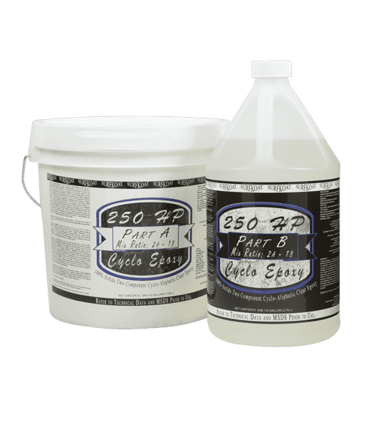 SurfKoat 250 HP Cyclo Epoxy Clear UV Stable Epoxy for crystal clear epoxy concrete floor coating product. Thick epoxy concrete floor coating material for colored stained concrete floors.
