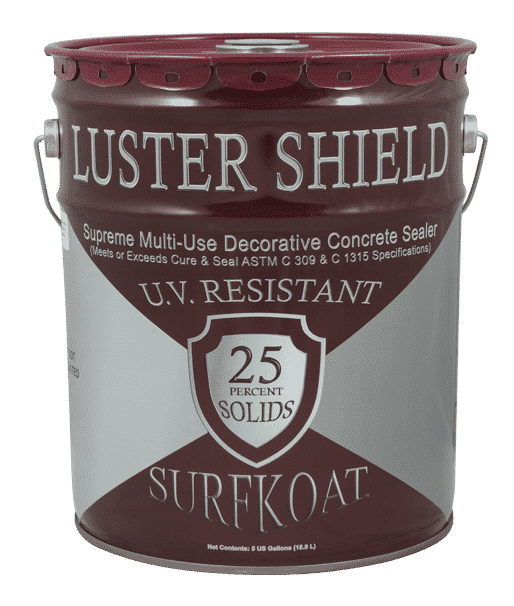 Surfkoat Luster Shield Clear Concrete Sealer Cure and Seal 25% solids concrete cure and seal material for stamped concrete jobs in Raleigh and stamped concrete projects in Charlotte. Clear concrete cure and seal material for all of North Carolina