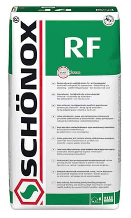 Schonox RF cement repair mortar bag mix material system for filling and leveling concrete floors. High strength and fast setting concrete repair mortar material system from Schonox.