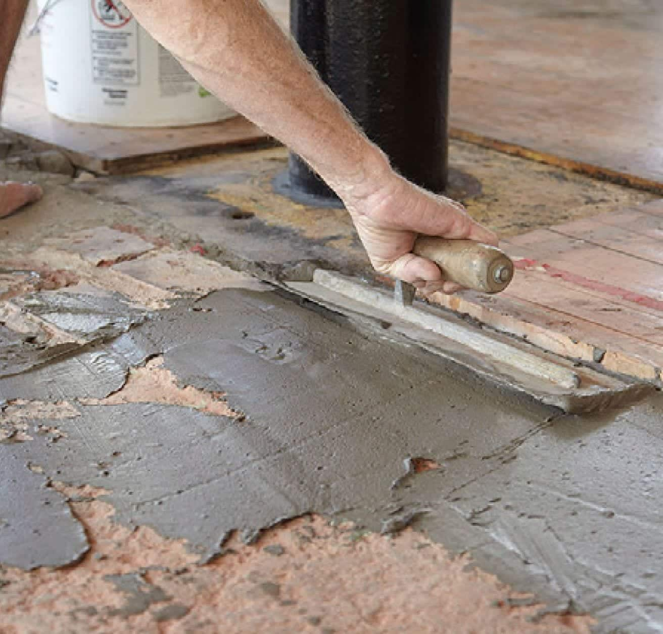 Floor repair mixes. Floor patching and leveling systems. Feather Edge floor smoothing compounds in cement and synthetic gypsum bag mixes.