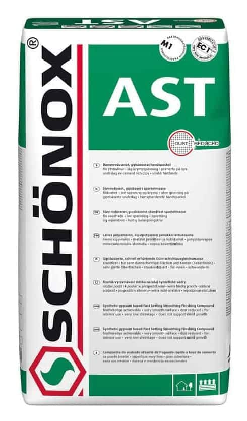 Schonox AST patching compound to repair gypsum subfloor underlayment. Just add water mix applied directly to gypcrete and other damaged gypsum floors to patch and level