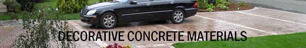 Decorative concrete material showing decorative concrete products as a stamped concrete driveway with brown integral concrete color and a brown powder release protected with a clear acrylic concrete cure and seal product.
