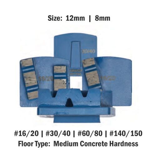 Medium Concrete Hardness 8 mm - 12mm Concrete Diamond Tool Blue Double #16/20 | #30/40 | #60/80 | #140/150 by Scanmaskin