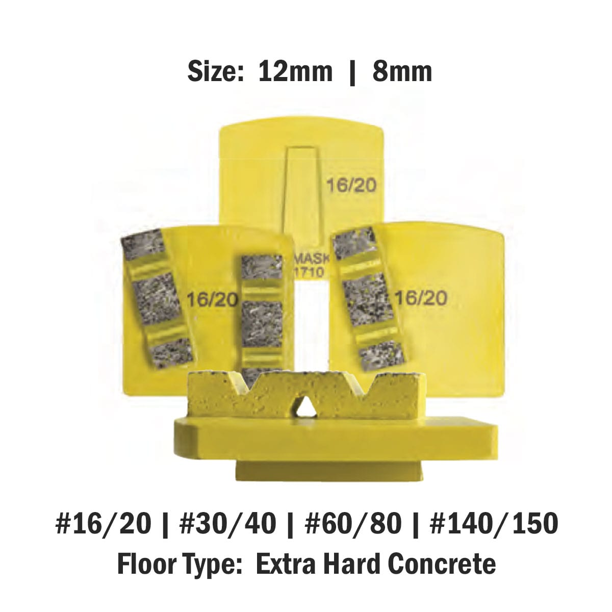 Extra Hard Concrete 8 mm - 12mm Concrete Diamond Tool Yellow Super Soft #16/20   #30/40   #60/80   #140/150 by Scanmaskin