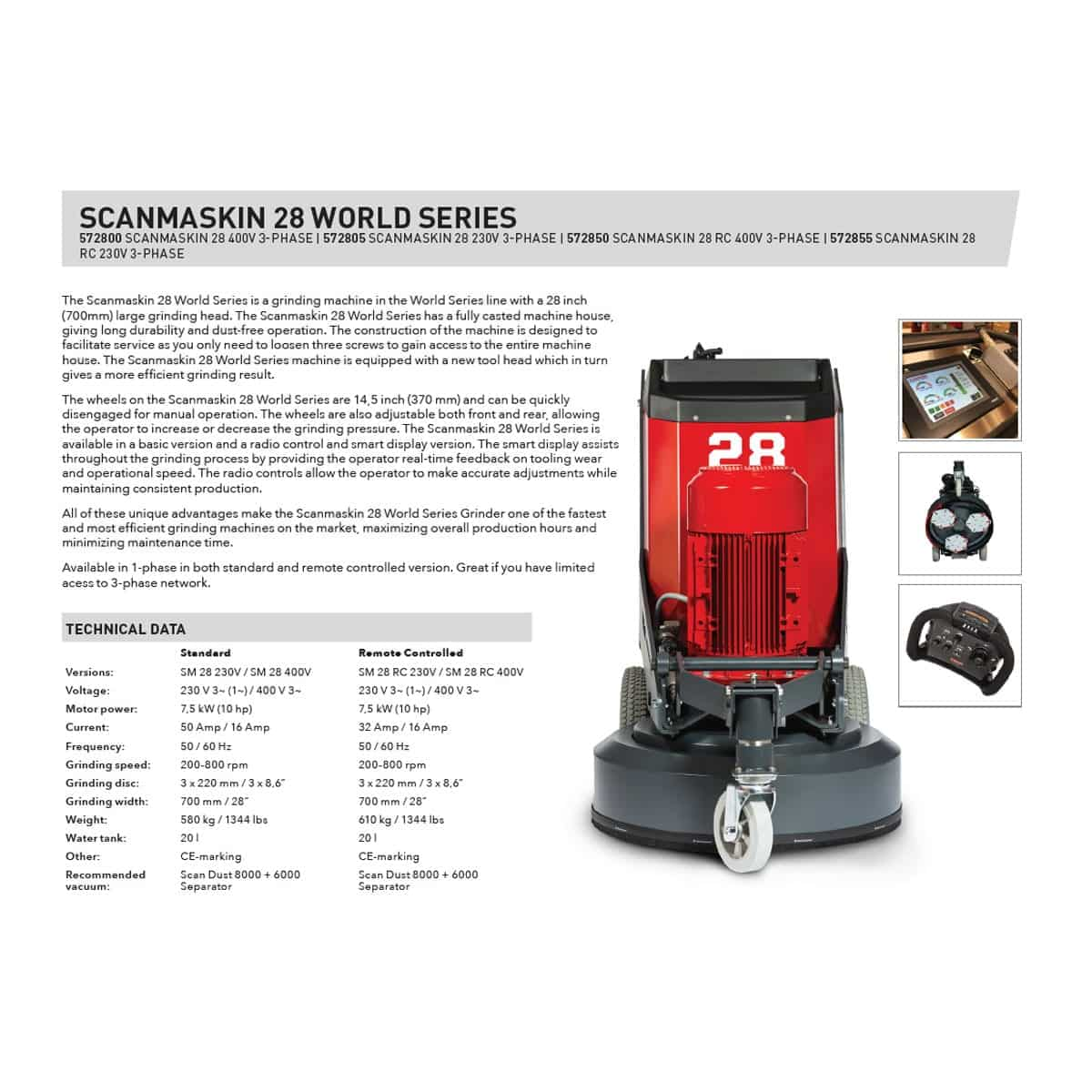 Sell Sheet Scanmaskin 28 World Series Concrete Grinder Remote Control Turning Point Supply