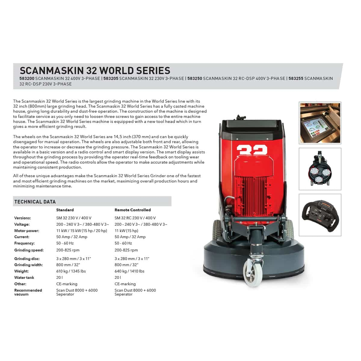"Sell Sheet Scanmaskin 32"" Concrete Grinder World Series 32 Turning Point Supply Charlotte and Raleigh North Carolina Store Locations"