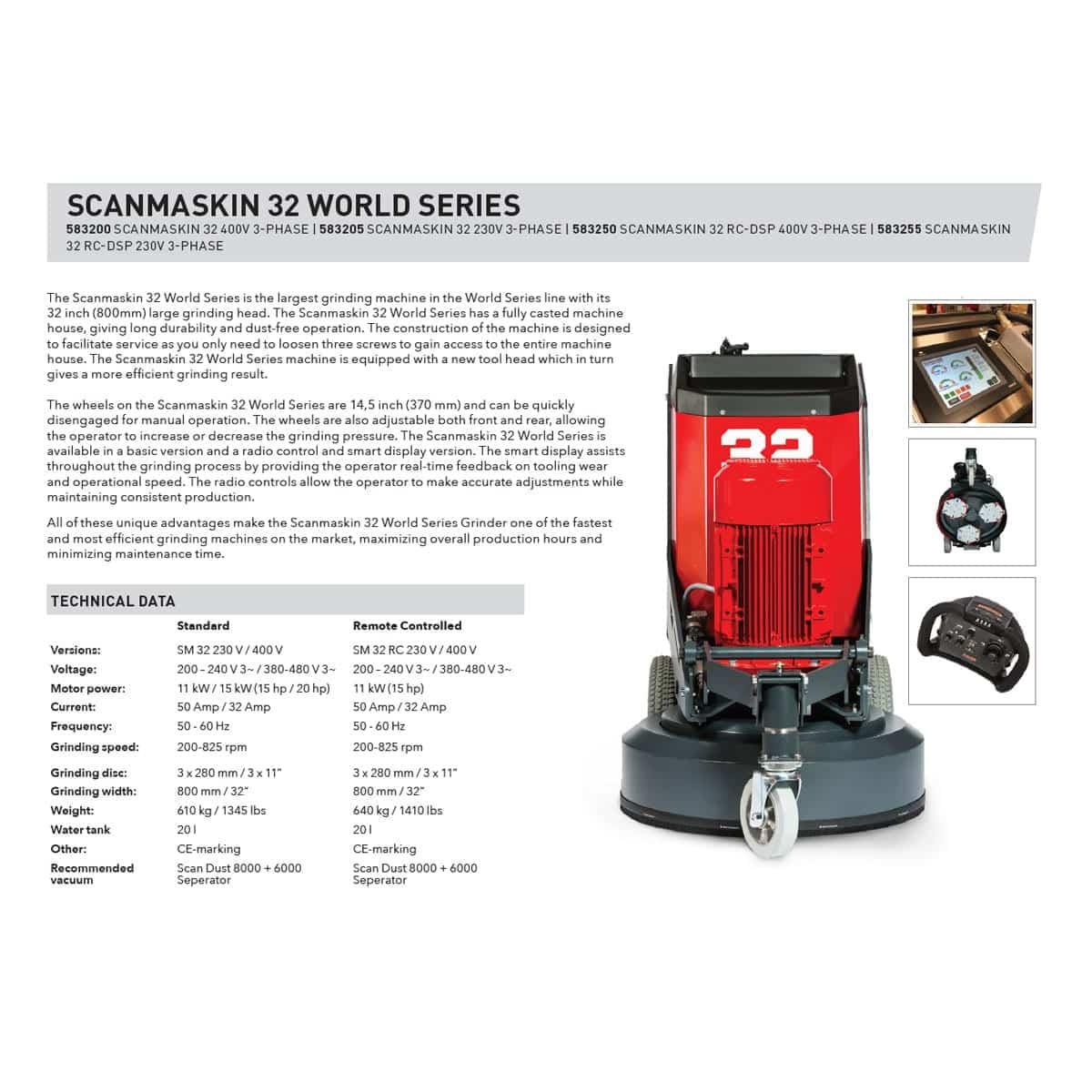Sales Sheet Scanmaskin 32 Remote Control Concrete Grinder Turning Point Supply North Carolina South Carolina