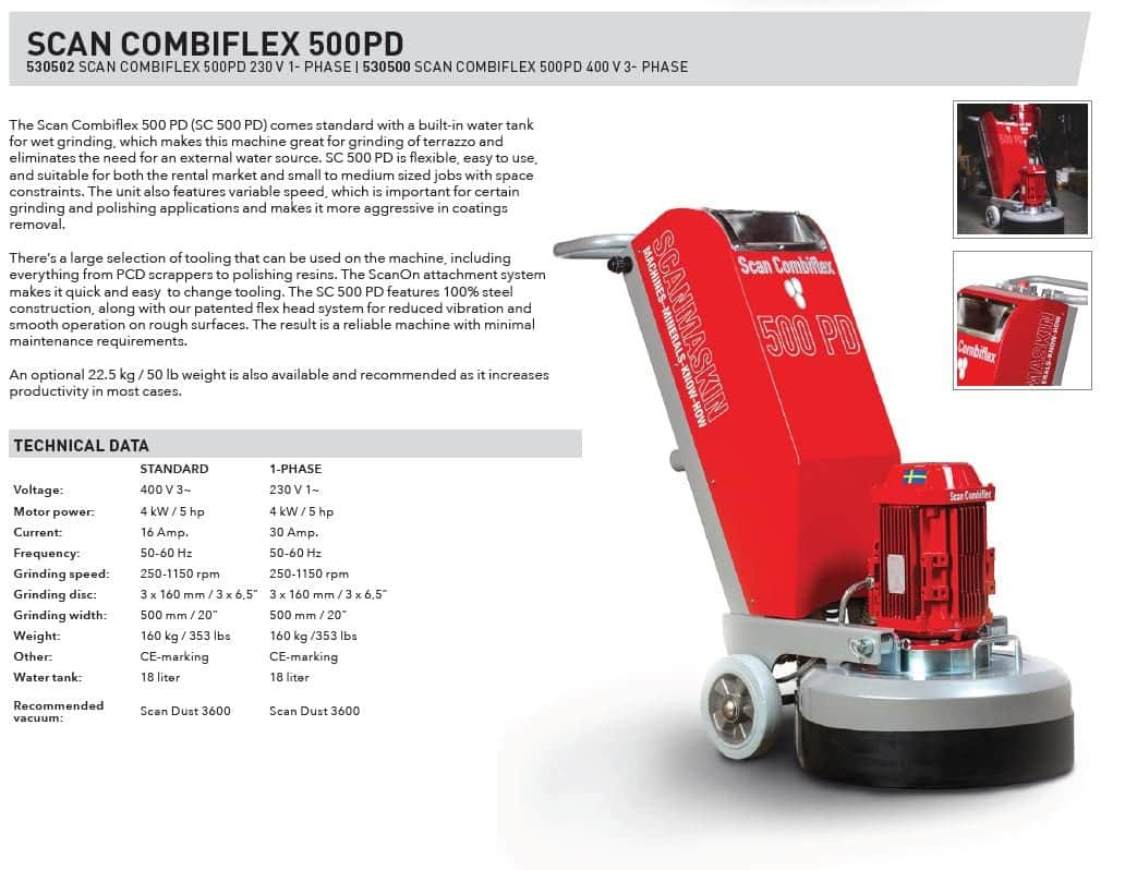 Sales Sheet Scanmaskin ScanCombiflex 500 PD Concrete Grinder 230 Volt - Turning Point Supply North Carolina Dealer
