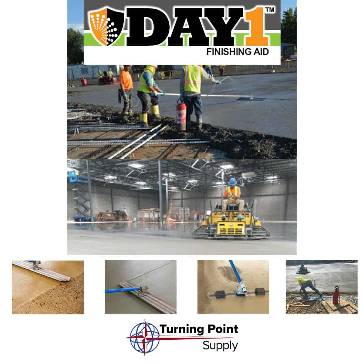 Ready to Use DAY 1 Troweling Finishing Aid - Extend Fresh Concrete Workable Time North and South Carolina