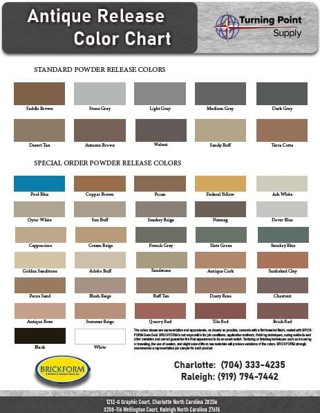 Download Powder Release Color Chart - Antique Release by Brickform