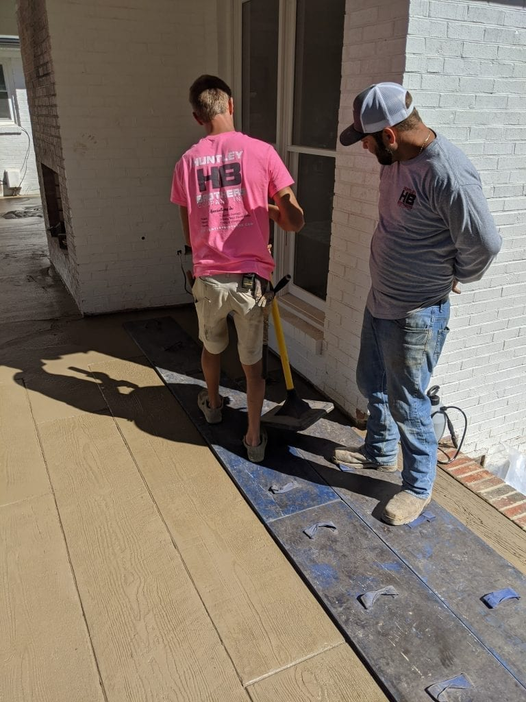 Huntley Brothers Company INC Fresh Concrete Wood Looking Stamped Concrete Brown Concrete Color Mint Hill, NC
