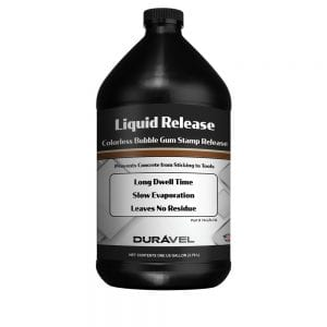 1 Gallon Liquid Release. Liquid Release is a clear colorless release agent for use with concrete stamps and texture tools. The bubble gum scented liquid creates a lubricating barrier that prevents concrete from adhering to tools and extends the life of stamps and skins. Liquid Release leaves no residues as it evaporates reducing clean up labor cost.