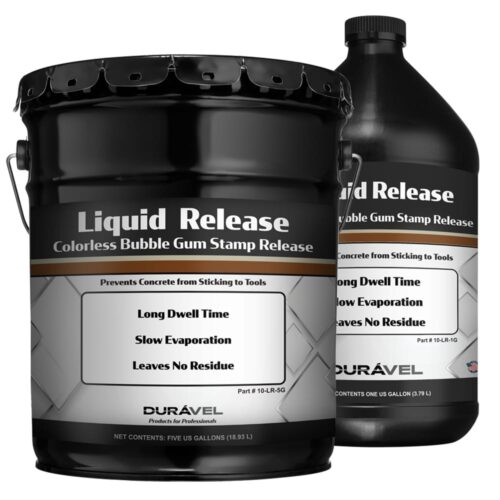 Liquid Release is a clear colorless release agent for use with concrete stamps and texture tools. The bubble gum scented liquid creates a lubricating barrier that prevents concrete from adhering to tools and extends the life of stamps and skins. Liquid Release leaves no residues as it evaporates reducing clean up labor cost.
