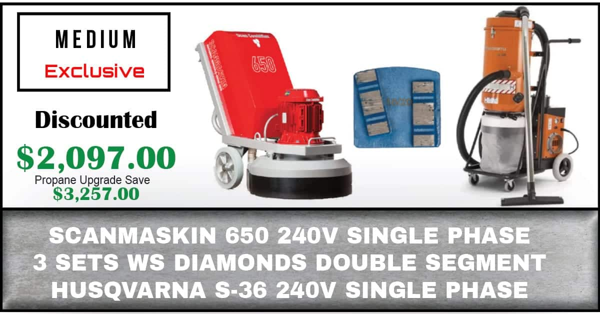 Package Includes: Scanmaskin 650 240V Single Phase Grinder World Series Diamonds Double Segments (3) Sets Husqvarna S-36 240V Single Phase