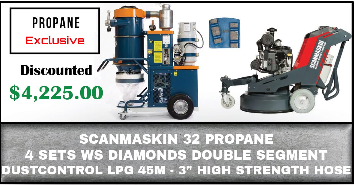 "Package Includes: Scanmaskin 32 Propane Powered World Series Diamonds Double Segments (4) Sets Dustcontrol LPG Vacuum 45m - 3"" High Strength Hose"