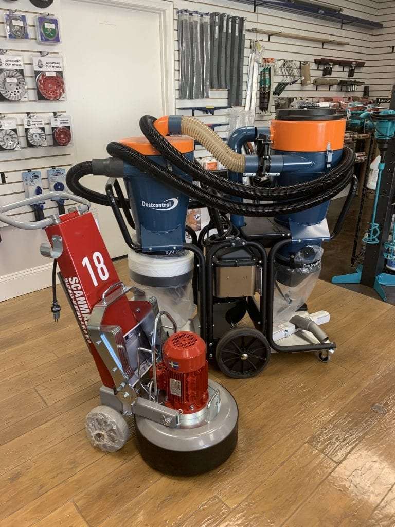 Scanmaskin Concrete Grinder and DustControl Trom Twin Hepa Vacuum
