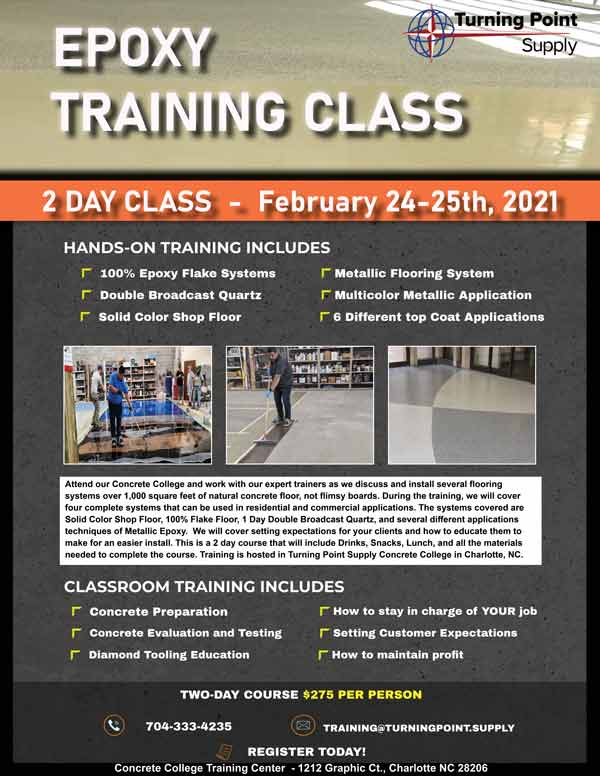 February 24-25 2020 Epoxy Training Class Charlotte NC