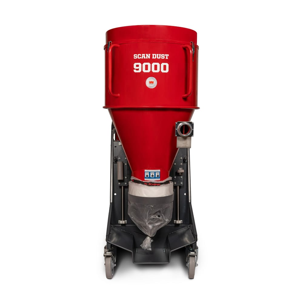The ScanDust 9000 World Series is our largest and most efficient industrial dust collector, featuring increased filter capacity and built-in pre-separators. The unique and patented pre-separator separates the dust into two stages and provides up to 90% pre-separation. This means that you do not need to clean the filters as often, which provides a longer filter life and less interruptions for maintenance compared to traditional industrial dust collectors. Since the pre-separator is built into the machine, it is always included in the workplace, which means no extra equipment that needs to be handled or transported. The filter area of the ScanDust 9000 World Series is 4.2 m2 (45 sq/ft) and consists of 32 Teflon coated sock filters and 2 Hepa 14 filters. Hepa 14 provides an extremely high filtration rate of 99.995% and takes care of the very smallest and most dangerous particles despite a very high air flow. As with all machines in the World Series range, extra emphasis has been placed on design, ergonomics and ease of service. The ScanDust 9000 World Series has a height-adjustable cyclone for flexible transport options and is also equipped with solid rear wheels and 200 mm large swivel wheels for easy handling in the workplace. The World Series design makes service simple, as you can easily access all parts and do not need to disassemble machine to gain access. The vacuum cleaner is equipped with a filter guard that warns you when you need to clean the filters and a Jet-Pulse cleaning system that easily pulses the filters to keep them clean without having to come in contact with the harmful dust. For simple and dust-free bag replacement, the proven Longopac bag system is incorporated into the SD9000. Scanmaskin always strives to increase sustainability and environmental consideration in our products and operations. The ScanDust 9000 World series is no exception with steel construction and 95% recyclability.