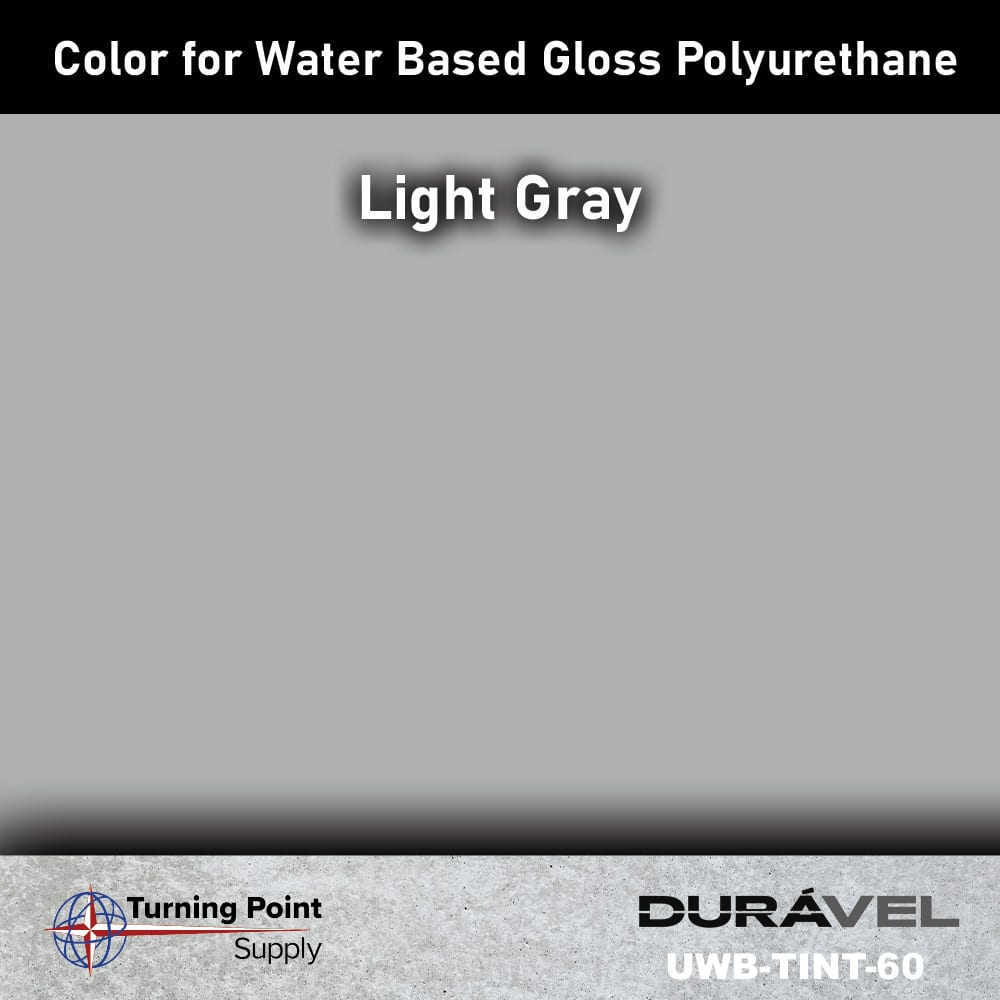 Light Gray Color UWB-TINT is high solids pigment to be used specifically with loss floor polyurethane products. Available in six colors. Adding UWB-Tint will not alter the pot life or cure time of the polyurethane.