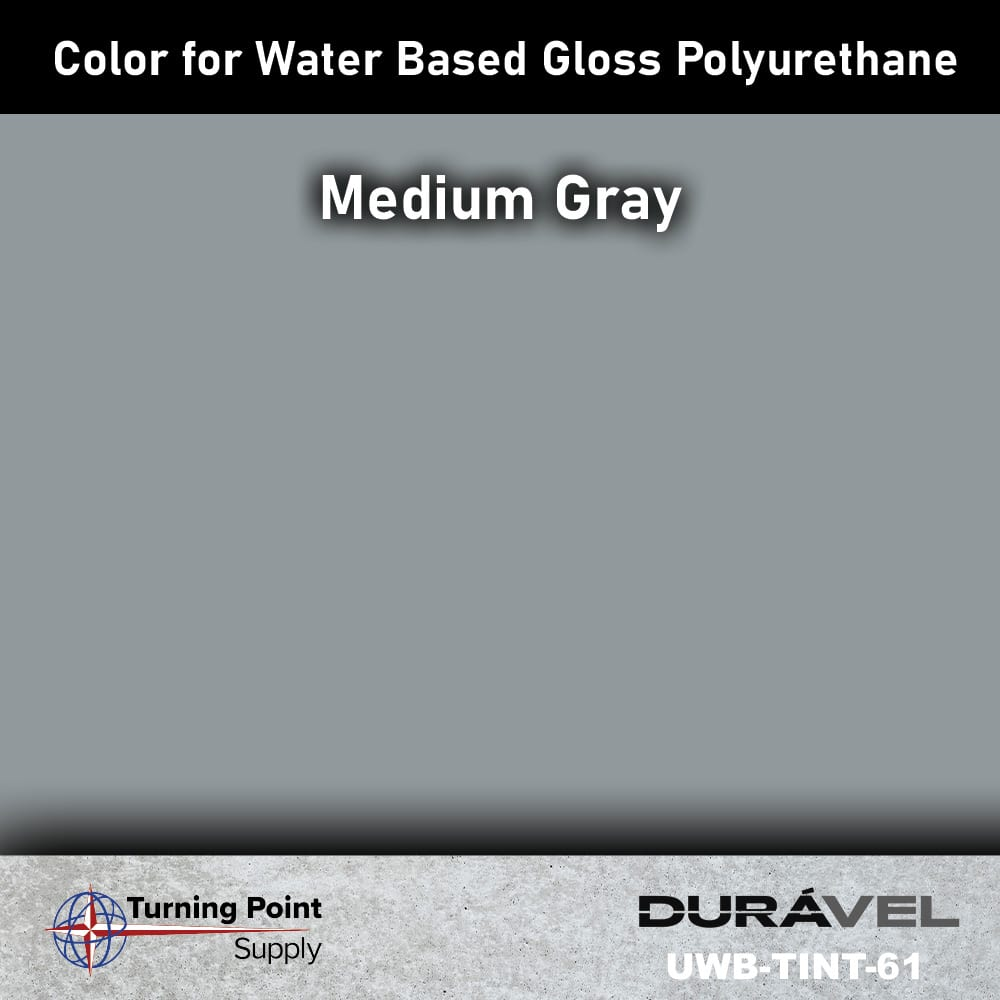 Medium Gray Color UWB-TINT is high solids pigment to be used specifically with loss floor polyurethane products. Available in six colors. Adding UWB-Tint will not alter the pot life or cure time of the polyurethane.