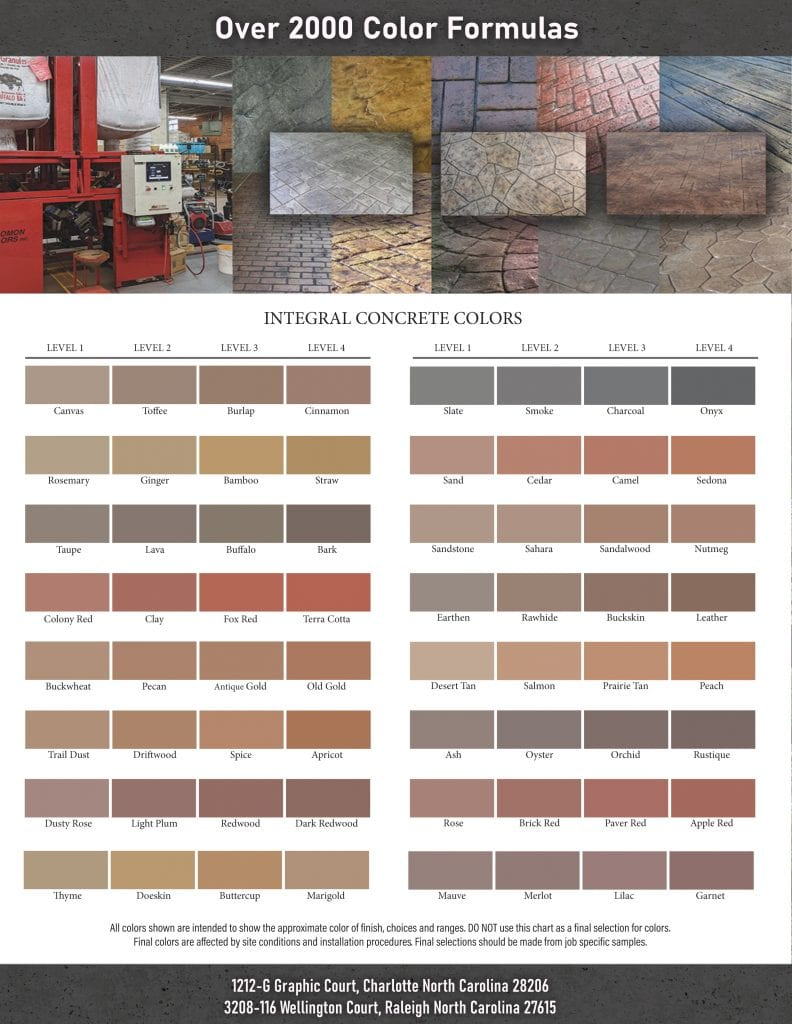 Concrete Integral Color Chart - Over 2000 Colors